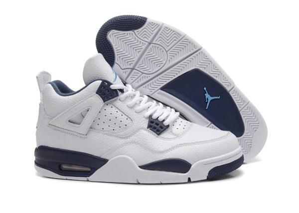 Air Jordan 4 Retro белые с синим кожа (40-45)